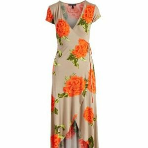 Dresses & Skirts - Taupe Floral Tie-Waist Maxi Dress -  Large